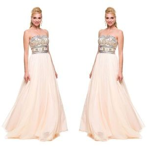 • STRAPLESS BEADED DRESS BY NOX ANABEL